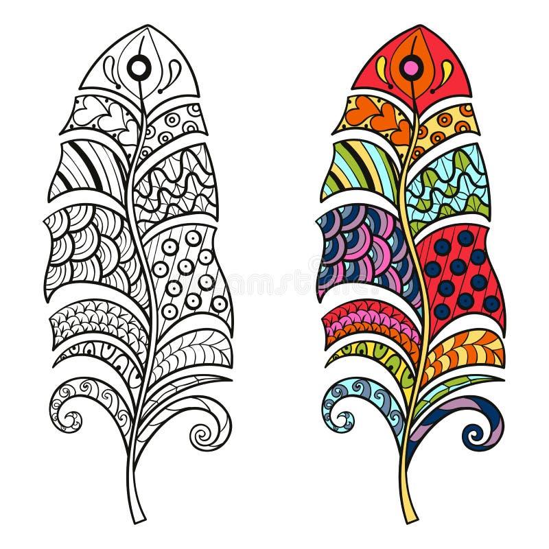 Zentangle stileerde stammenkleur en zwart-wit veren voor colo royalty-vrije illustratie