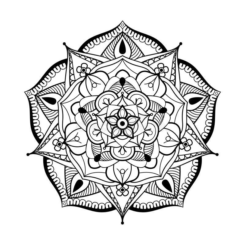 Zentangle stileerde zwart-wit Mandala-ronde Getrokken hand patterne stock foto's