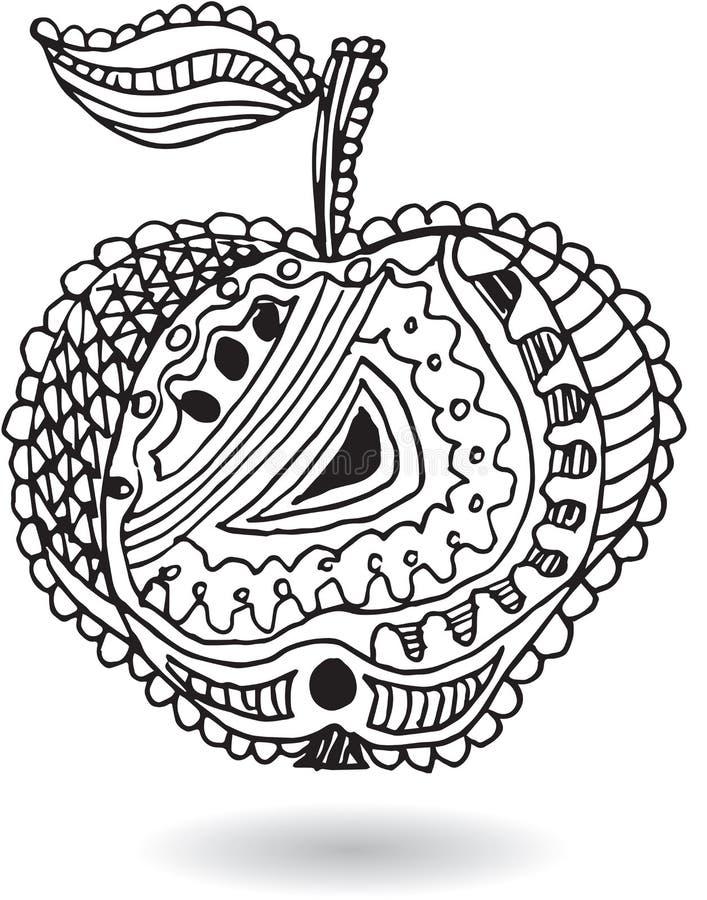 Zentangle stiliserade äpplet, vektorillustrationen, artistically attraktion royaltyfri illustrationer