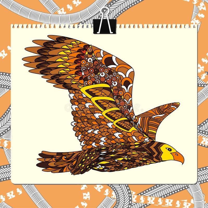 Zentangle stiliserade örnen Djur fågelsamling stock illustrationer
