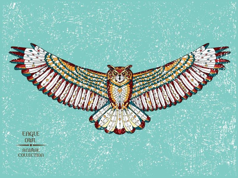 Zentangle stiliserade örnugglan Skissa för tatuering eller vektor illustrationer