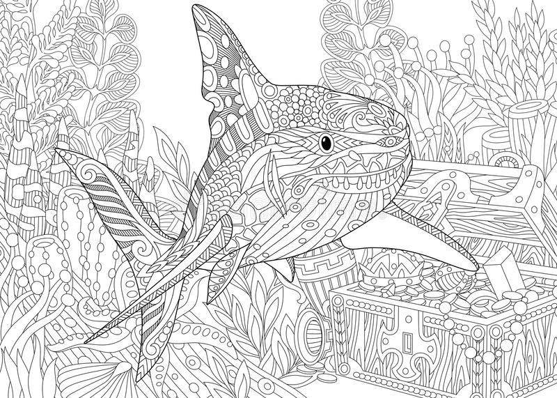 Zentangle stiliserade akvariet royaltyfri illustrationer