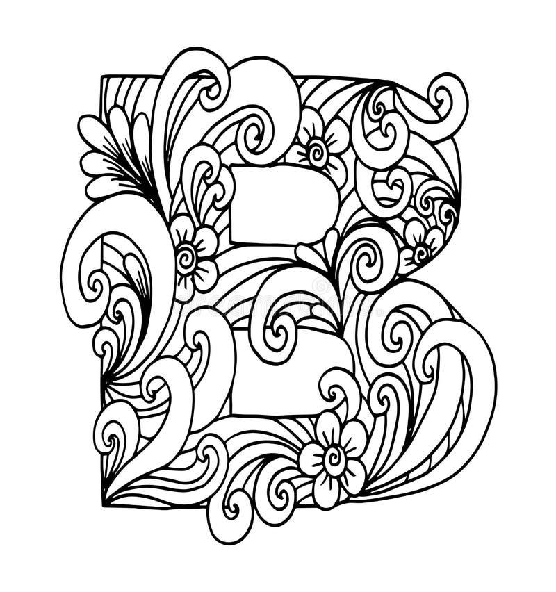 Zentangle stiliserade alfabet Bokstav B i klotterstil royaltyfri illustrationer