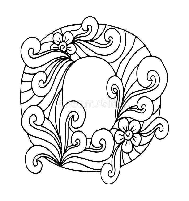 Zentangle stiliserade alfabet Bokstavsnolla i klotterstil stock illustrationer