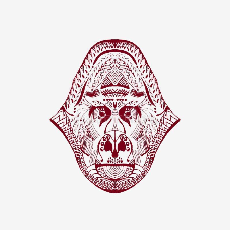 Zentangle stiliserade apahuvudet royaltyfri illustrationer