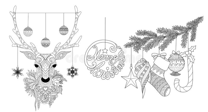 Zentangle stiliserade av jul hjortar och prydnader för sidor för färgläggningboken för anti-spänningen, gravyr och så vidare, han stock illustrationer