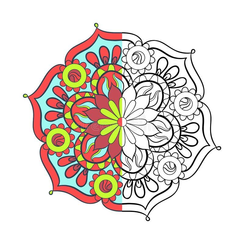 Zentangle stiliserade den arabiska mandalaen för elegant färg för att färga stock illustrationer