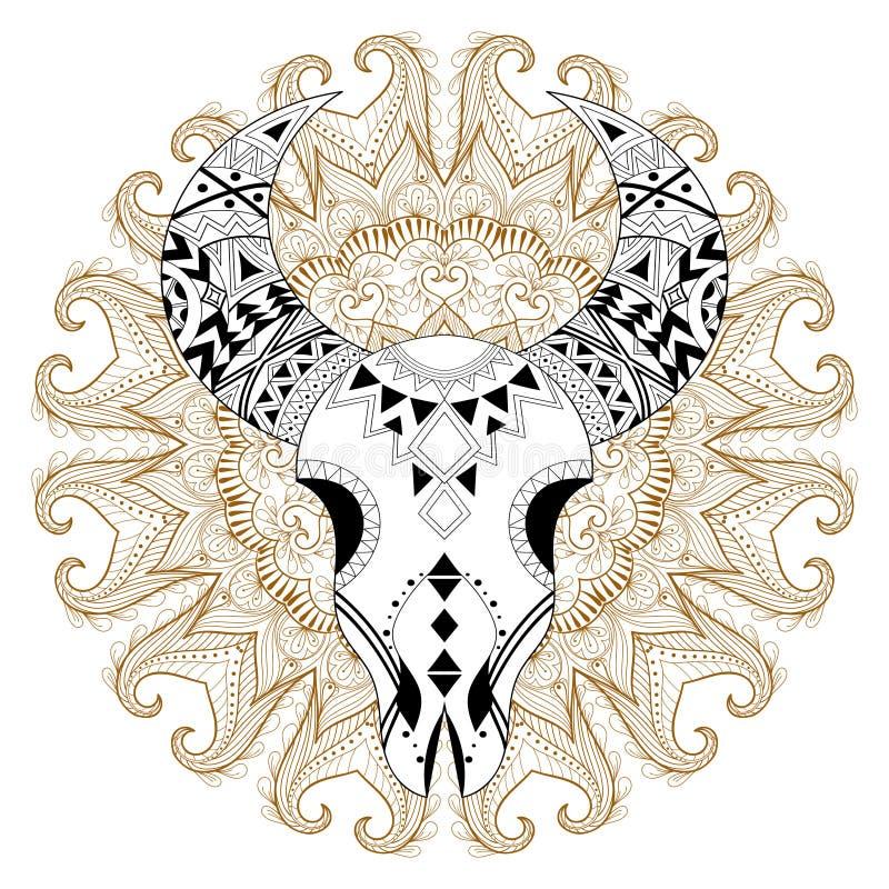 Zentangle stiliserade den djura skallen på zigensk mandala Frihandsvecto royaltyfri illustrationer