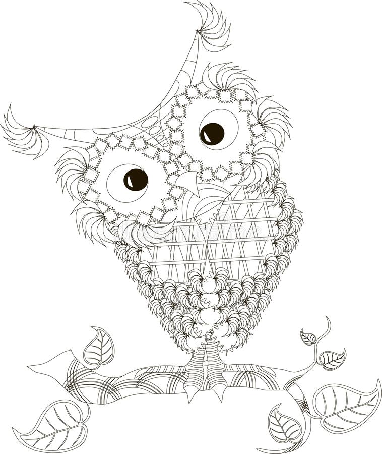 Zentangle stiliserade den drog svartvita handen för ugglan, vektor royaltyfri illustrationer