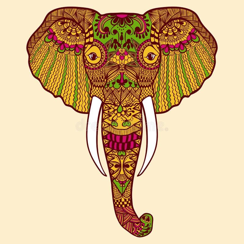 Zentangle stiliserade den indiska elefanten Den drog handen snör åt royaltyfri illustrationer