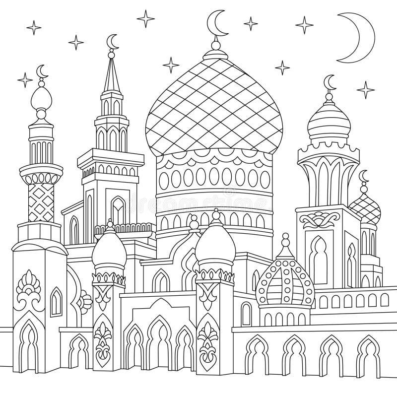 Zentangle stiliserade den islamiska moskén royaltyfri illustrationer