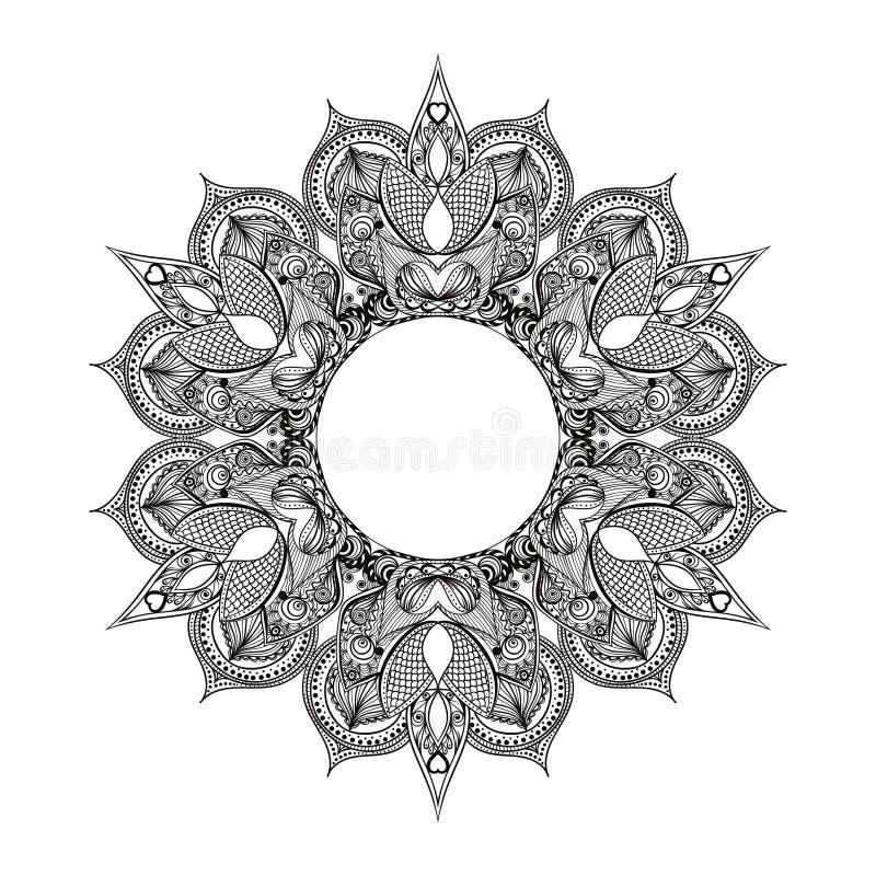 Zentangle stiliserade den runda indiern, arabisk Mandala Hand dragen vin royaltyfri illustrationer