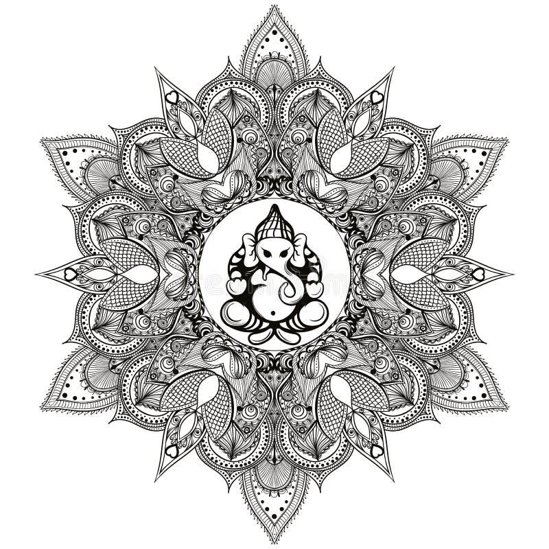 Zentangle stiliserade den runda indiska mandalaen med den hinduiska elefantguden royaltyfri illustrationer