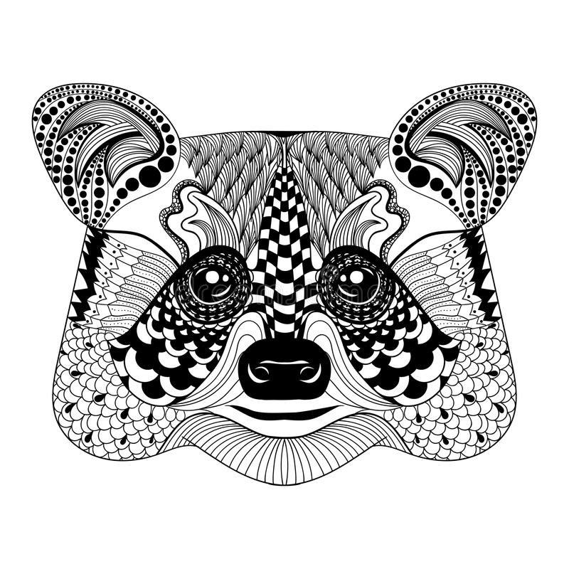 Zentangle stiliserade den svarta tvättbjörnframsidan Hand dragen klottervektor royaltyfri illustrationer