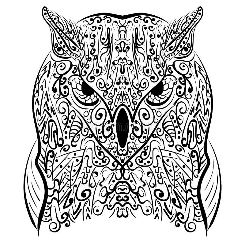Zentangle stiliserade den svarta ugglavektorillustrationen vektor illustrationer