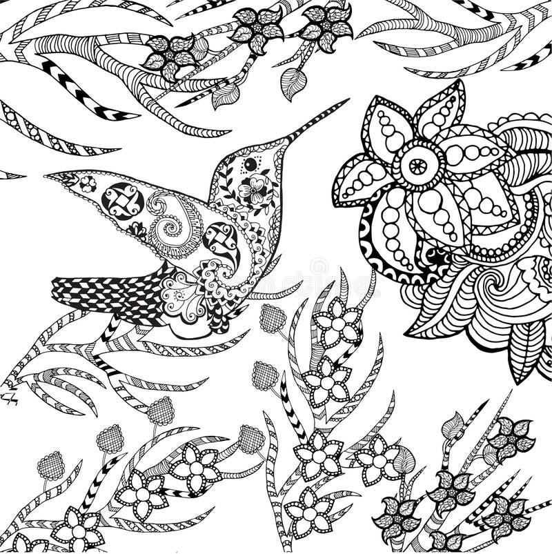 Zentangle stiliserade den tropiska fågeln i blommaträdgård stock illustrationer