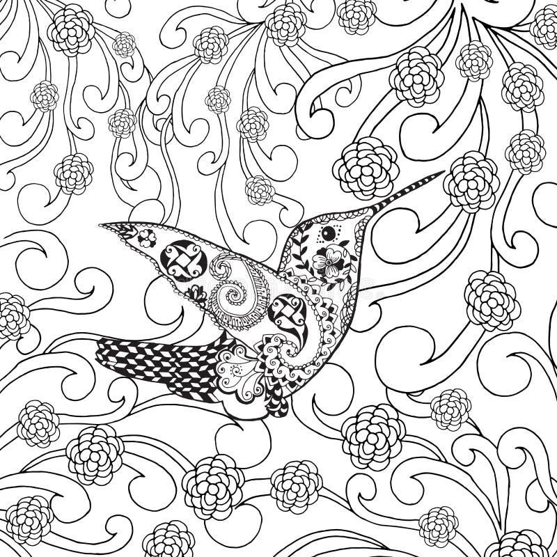 Zentangle stiliserade den tropiska fågeln i blommaträdgård royaltyfri illustrationer