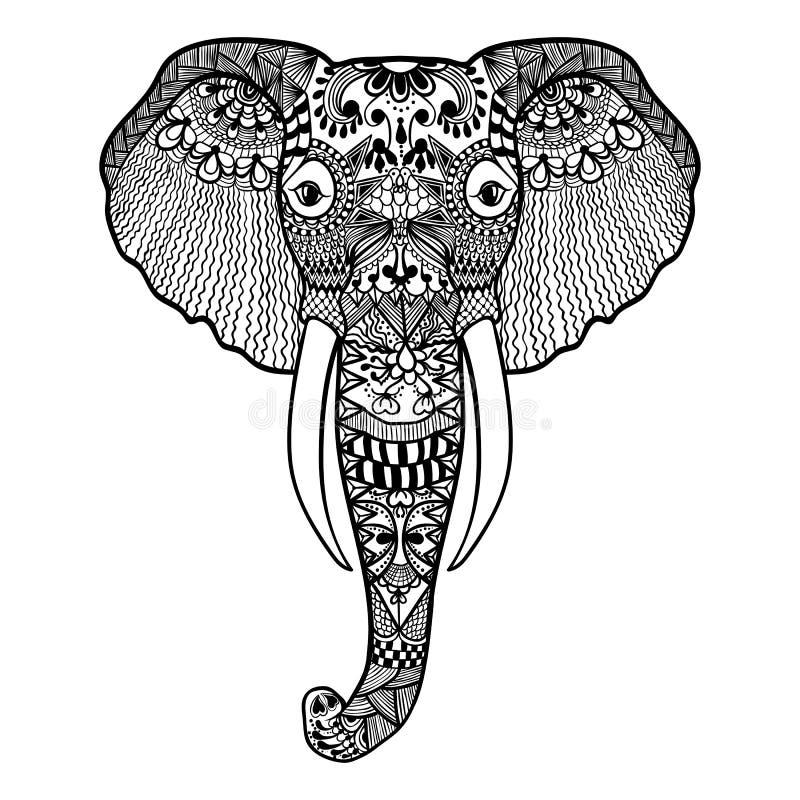 Zentangle stiliserade elefanten Den drog handen snör åt illustrationen stock illustrationer