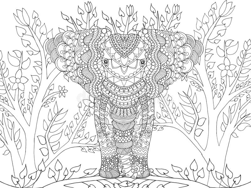 Zentangle stiliserade elefanten i fantasiträdgård stock illustrationer