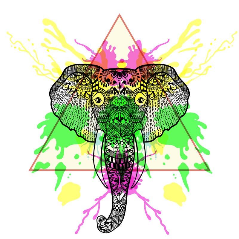 Zentangle stiliserade elefanten i triangelram med vattenfärg I stock illustrationer
