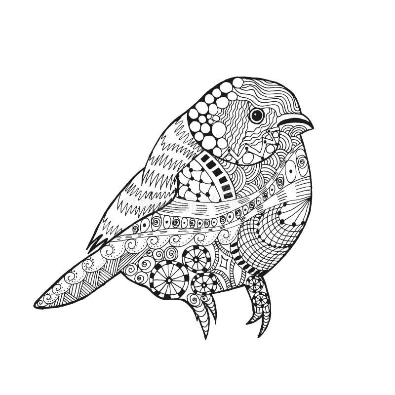 Zentangle stiliserade fågeln royaltyfri illustrationer