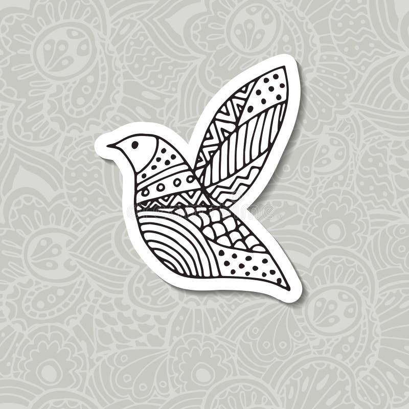 Zentangle stiliserade fågeln Hand tecknad vektorillustration vektor illustrationer