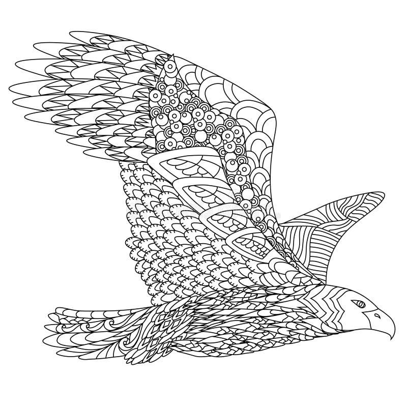 Zentangle stiliserade flygörnen Räcka det utdragna klottret royaltyfri illustrationer