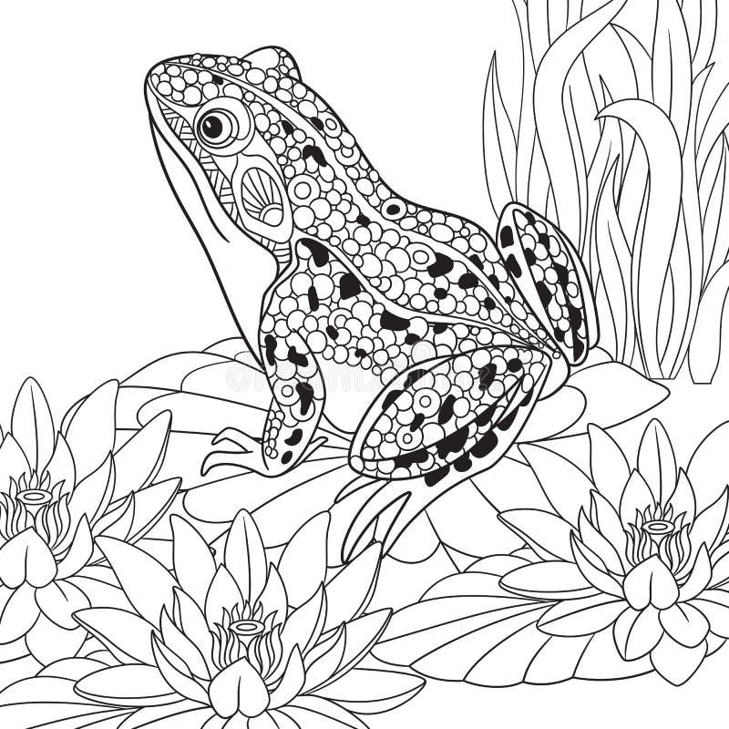 Zentangle stiliserade grodan royaltyfri illustrationer
