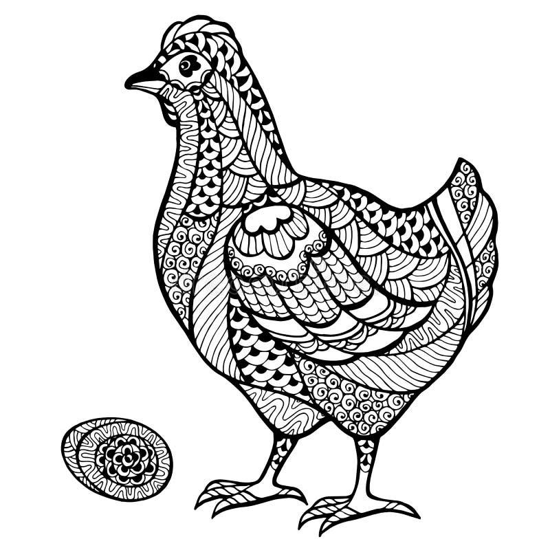 Zentangle stiliserade höna med ägget vektor illustrationer