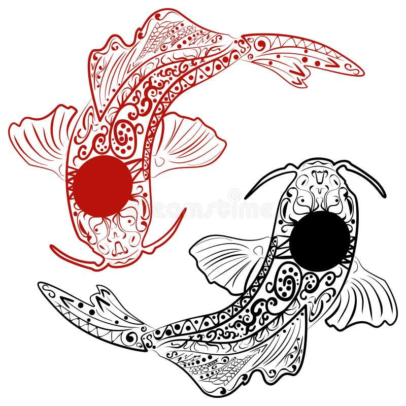 Zentangle stiliserade handen drog koifisken stock illustrationer