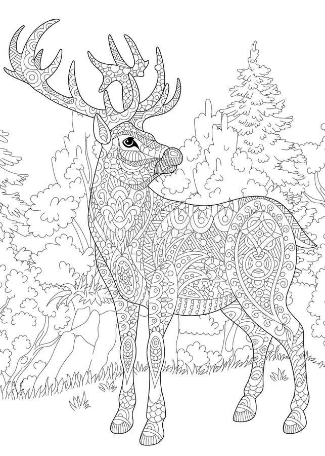 Zentangle stiliserade hjortar stock illustrationer