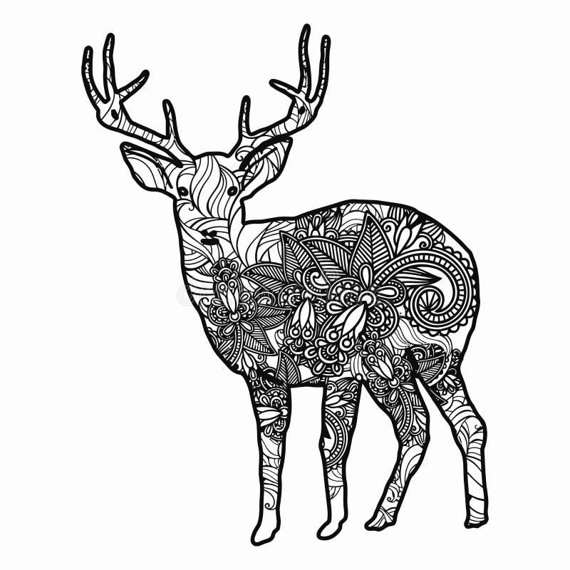 Zentangle stiliserade hjortillustrationen Hand dragen klotterillustration som isoleras på vit bakgrund vektor illustrationer