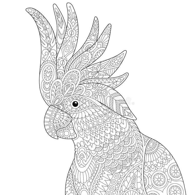 Zentangle stiliserade kakaduan stock illustrationer