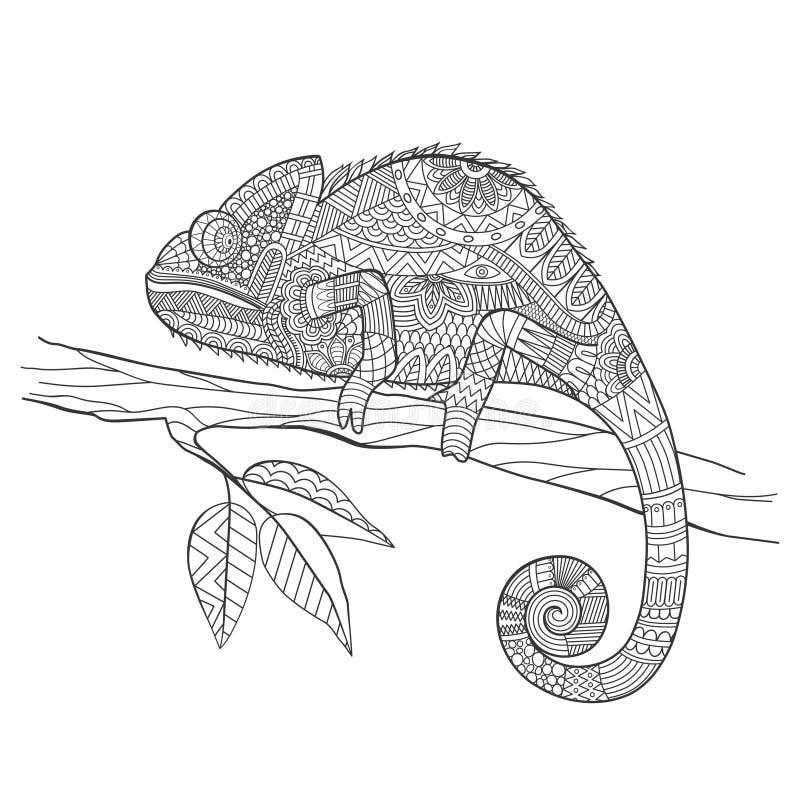 Zentangle stiliserade kameleontödlan Hand dragen vektorillustrat vektor illustrationer