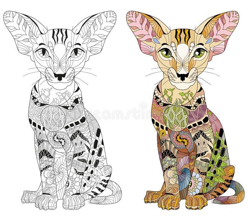 Zentangle stiliserade katten Den drog handen snör åt vektorillustrationen stock illustrationer