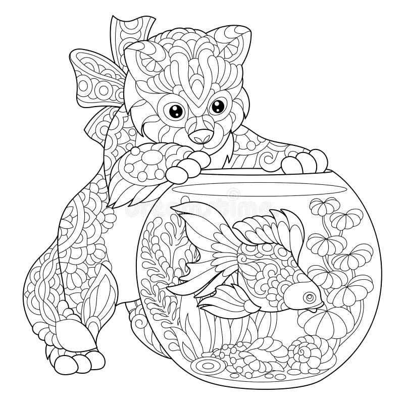 Zentangle stiliserade kattungen och guldfisken royaltyfri illustrationer