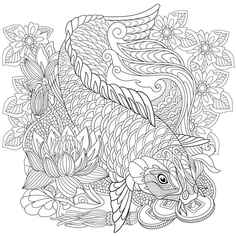 Zentangle stiliserade koikarpen royaltyfri illustrationer