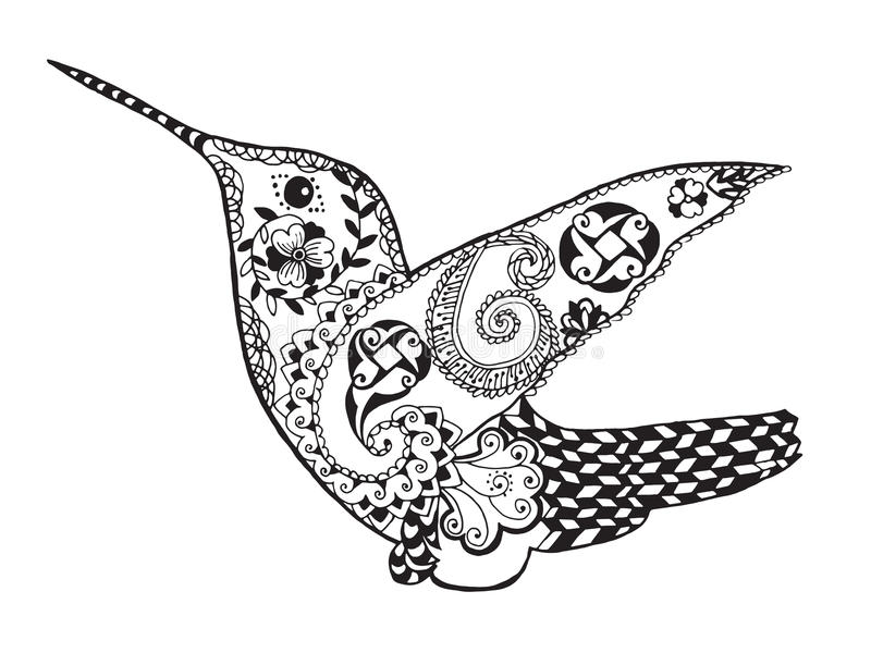 Zentangle stiliserade kolibrin Skissa för tatuering eller t-skjorta vektor illustrationer