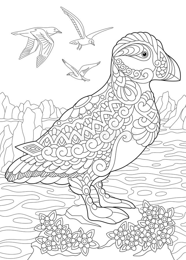 Zentangle stiliserade lunnefågelfågeln vektor illustrationer