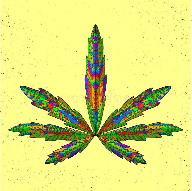 Zentangle stiliserade marijuanabladet Skissa för royaltyfri illustrationer