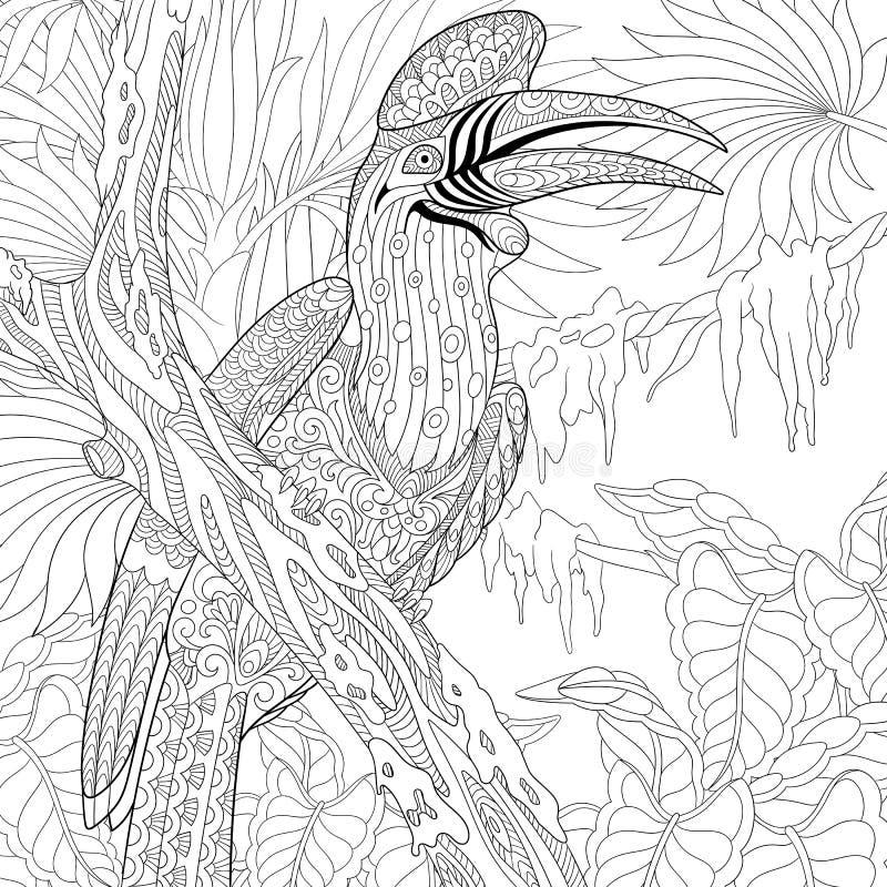 Zentangle stiliserade noshörninghornbillfågeln (Bucerosnoshörningen) vektor illustrationer