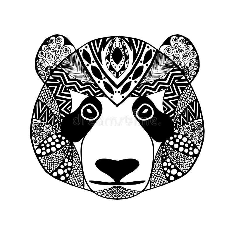 Zentangle stiliserade pandan Skissa för tatuering eller t-skjorta royaltyfri illustrationer