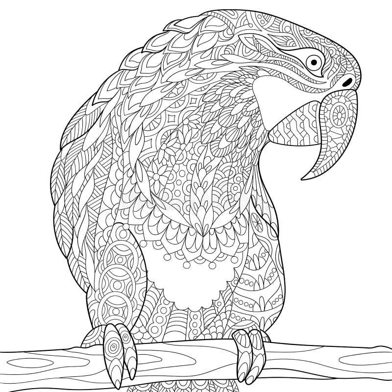 Zentangle stiliserade papegojan - ara royaltyfri illustrationer
