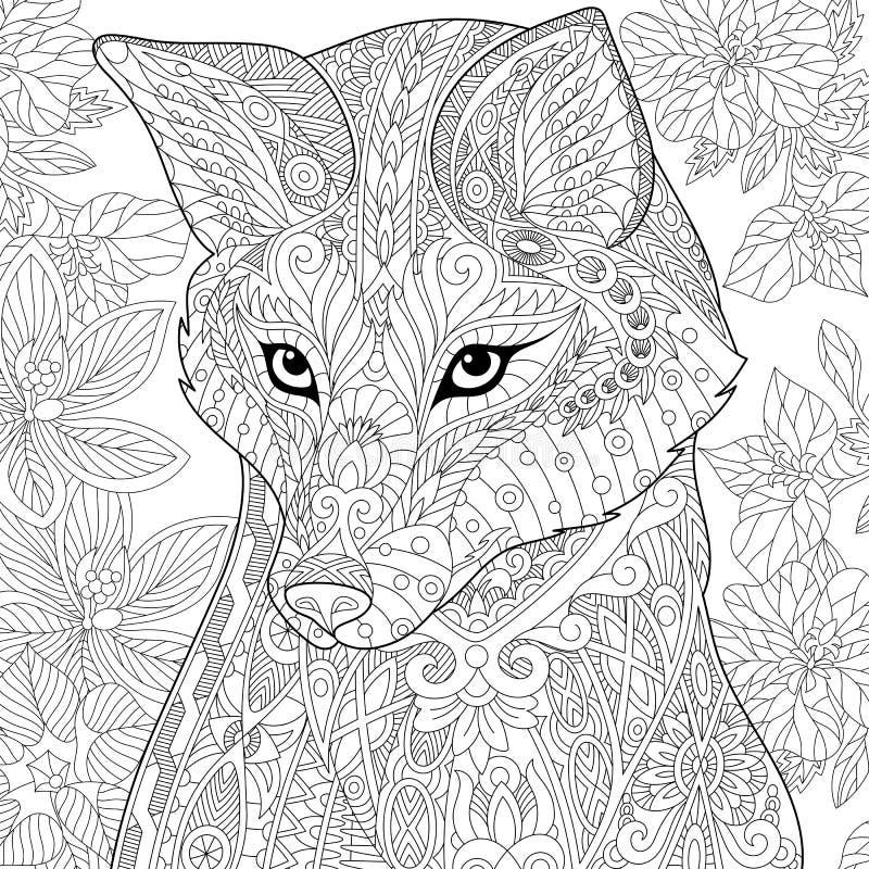 Zentangle stiliserade räven royaltyfri illustrationer
