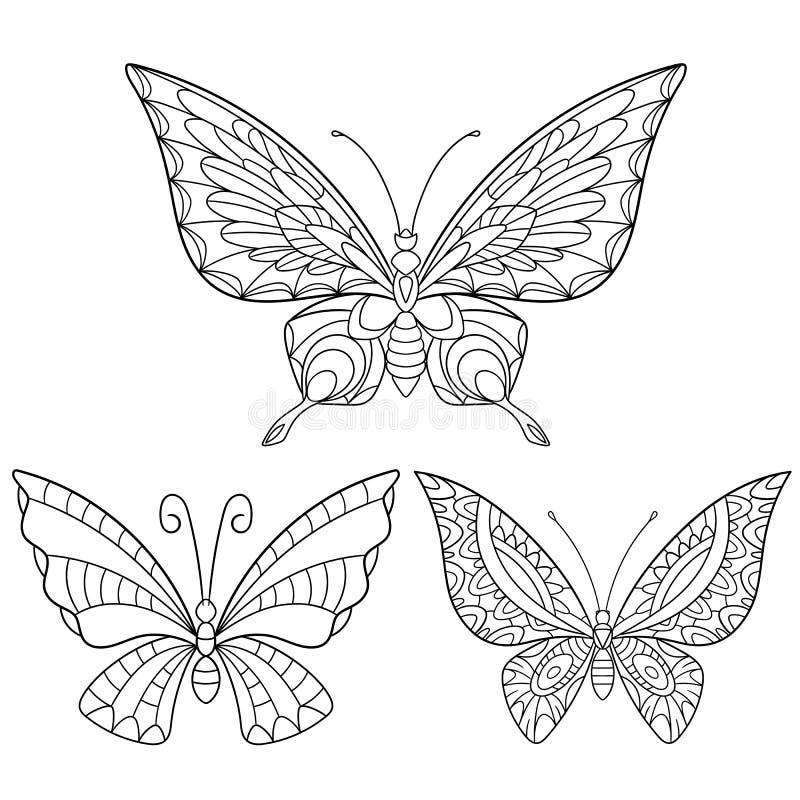 Zentangle stiliserade samlingen av tre fjärilar stock illustrationer