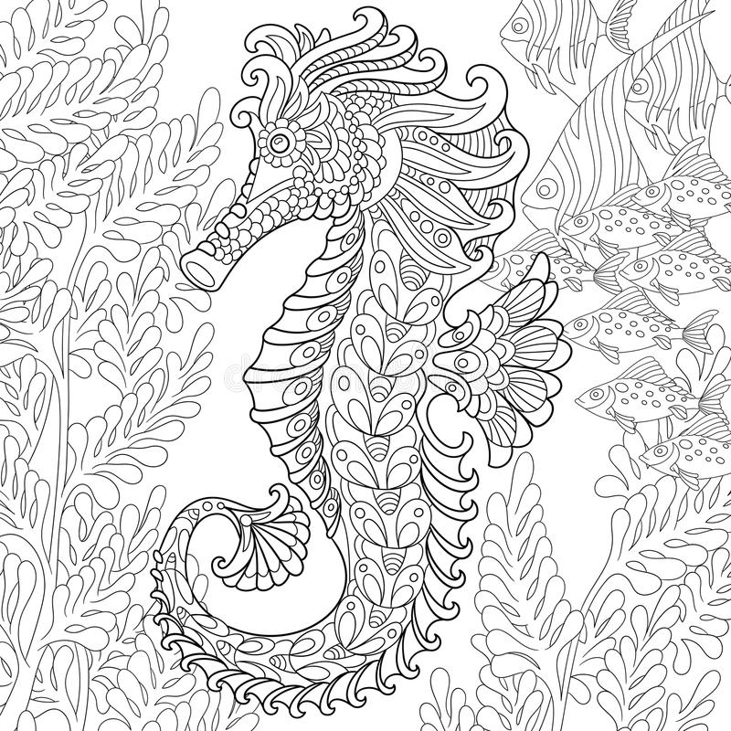 Zentangle stiliserade seahorsen stock illustrationer