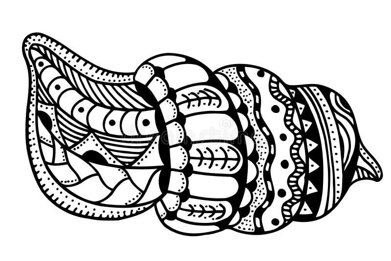 Zentangle stiliserade skalet royaltyfri illustrationer
