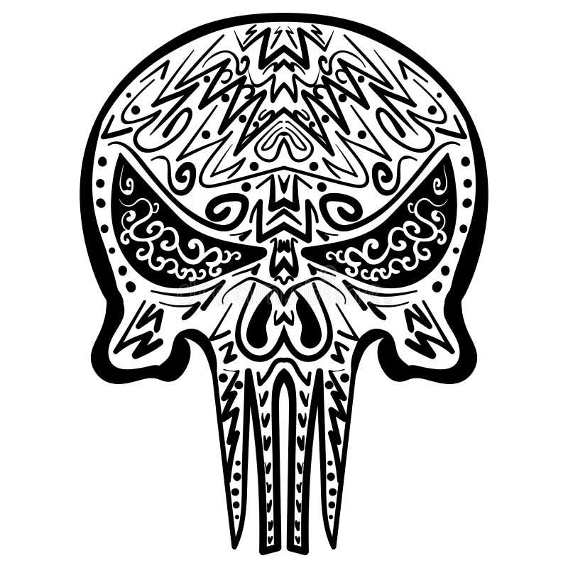 Zentangle stiliserade skallen skissar Freehand royaltyfri illustrationer
