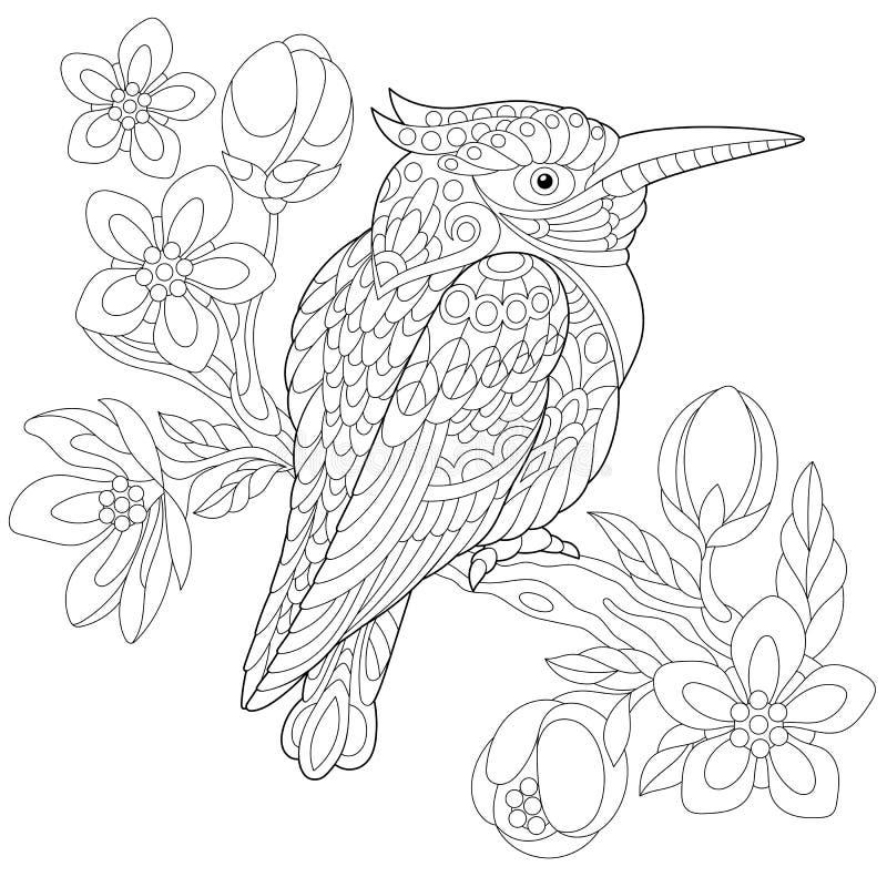 Zentangle stiliserade skrattfågelfågeln royaltyfri illustrationer