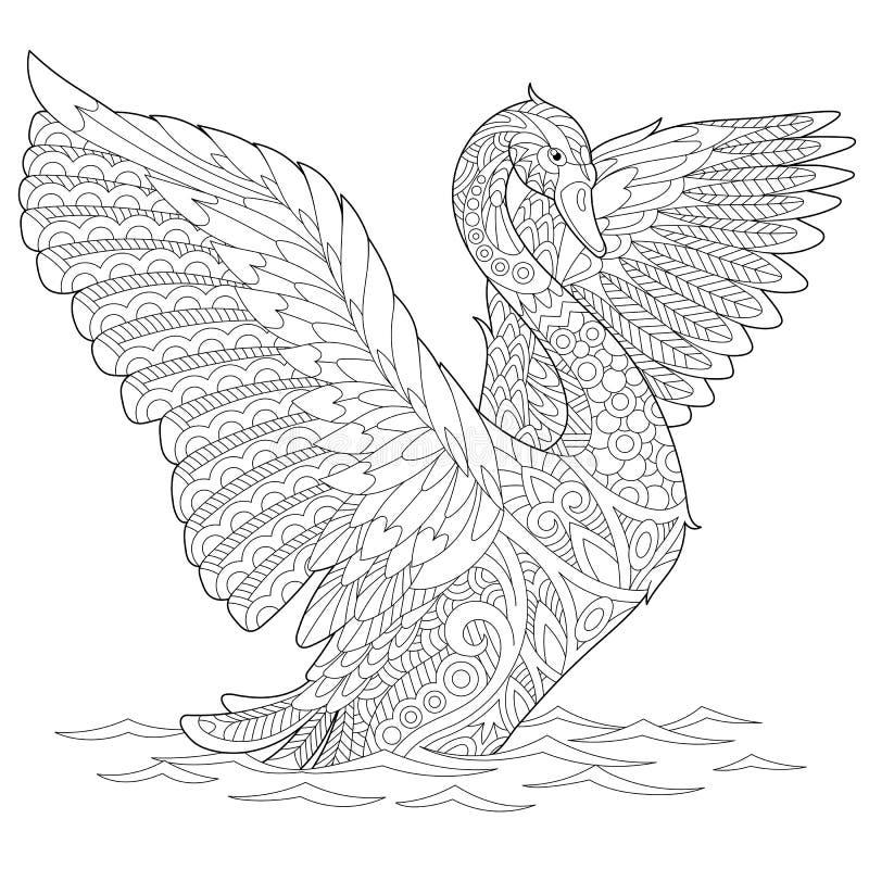 Zentangle stiliserade svanen stock illustrationer